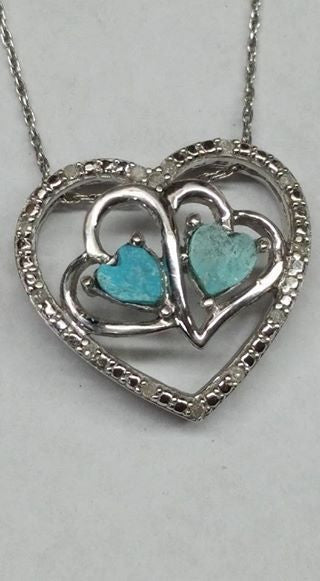 Natural untreated Burtis Blue Turquoise, sterling silver with diamonds pendant