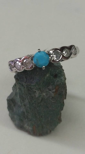 Natural untreated Burtis Blue Turquoise 14k white gold and diamond ring