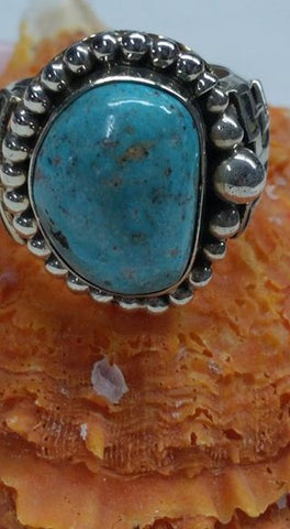 Natural untreated Burtis Blue Turquoise and sterling silver ring