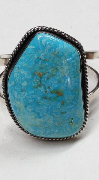 Natural untreated Burtis Blue Turquoise and sterling silver bracelet