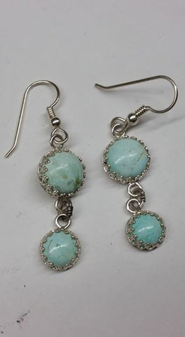 Natural untreated Burtis Blue Turquoise and sterling silver earrings