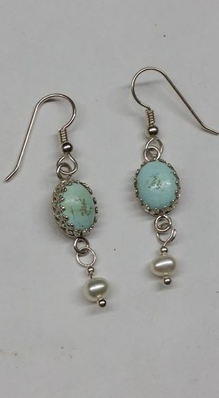 Natural untreated Burtis Blue Turquoise, pearls and sterling silver earrings