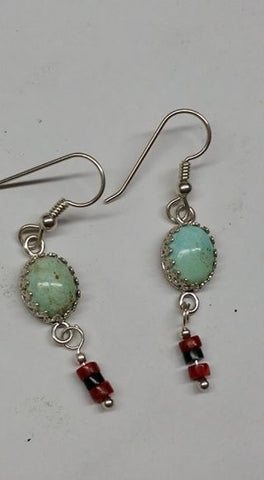 Natural untreated Burtis Blue Turquoise, apple coral, black coral and sterling silver earrings