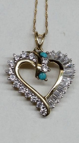 Two tiny untreated faceted Burtis Blue Turquoise, Simulated diamonds and 10k gold pendant