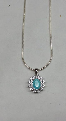 Untreated faceted Burtis Blue Turquoise, Simulated diamonds and sterling silver pendant