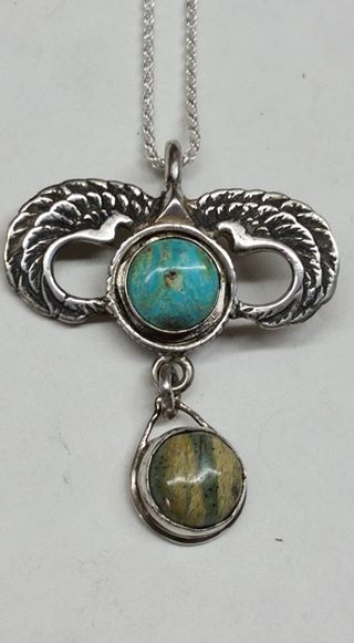 Untreated North Star Turquoise, Opaleye and Sterling silver pendant