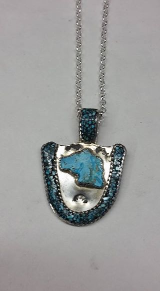 Natural untreated Burtis Blue Turquoise, Burtis Blue Turquoise inlay and sterling silver pendant
