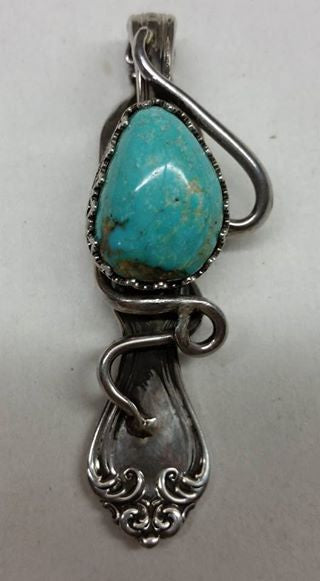 #315 Natural untreated Burtis Blue Turquoise and sterling silver Fork Pendant