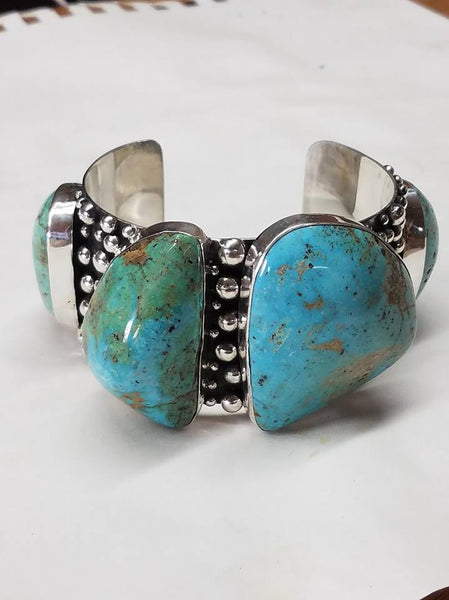Sterling silver bracelet with natural untreated turquoise