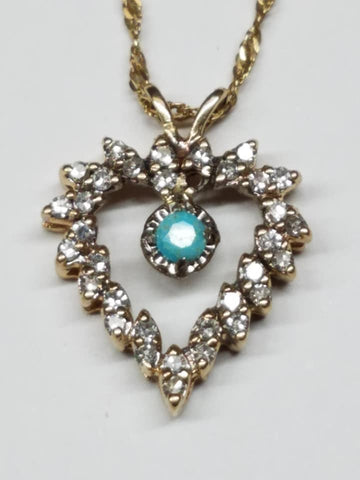 Natural untreated North Star turquoise 14k gold and diamond heart pendant