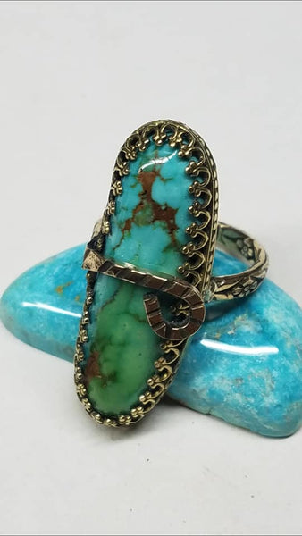 Natural untreated North Star turquoise and gold ring
