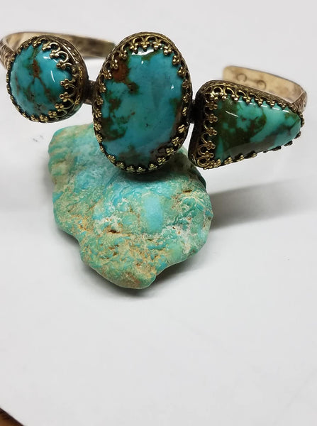 Untreated North Star Turquoise and gold Bracelet