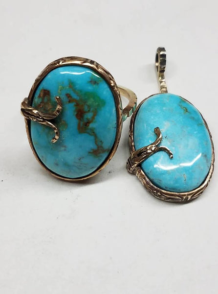 Natural untreated turquoise, 14k gold and sterling silver pendant and ring set