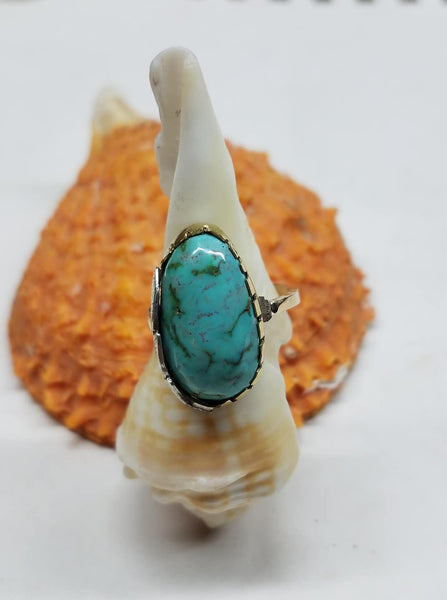 Natural untreated turquoise, gold and sterling silver ringv