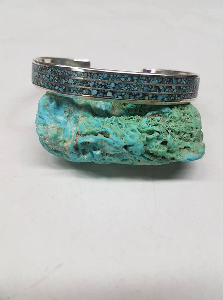 Sterling silver and turquoise inlay bracelet