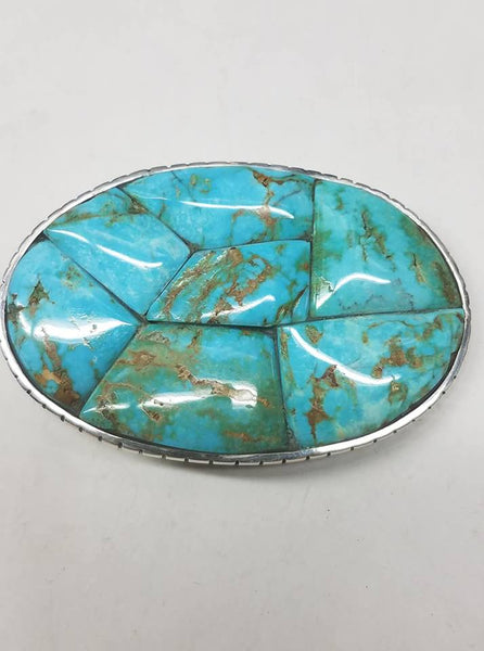 Sterling silver and untreated turquoise belt buckle