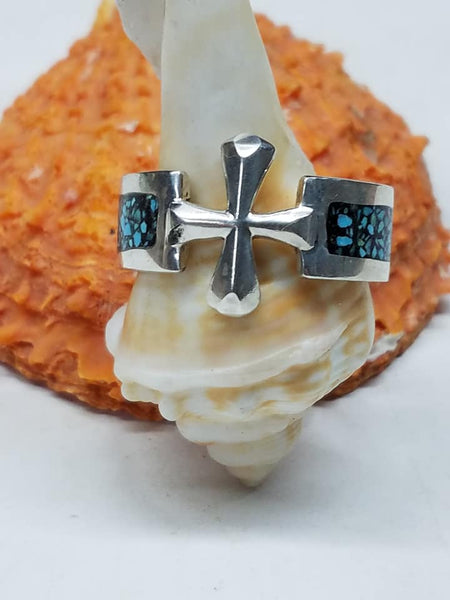 Sterling Silver Cross ring with turquoise inlay