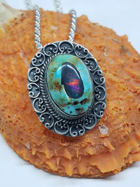 Turquoise and opal pendant