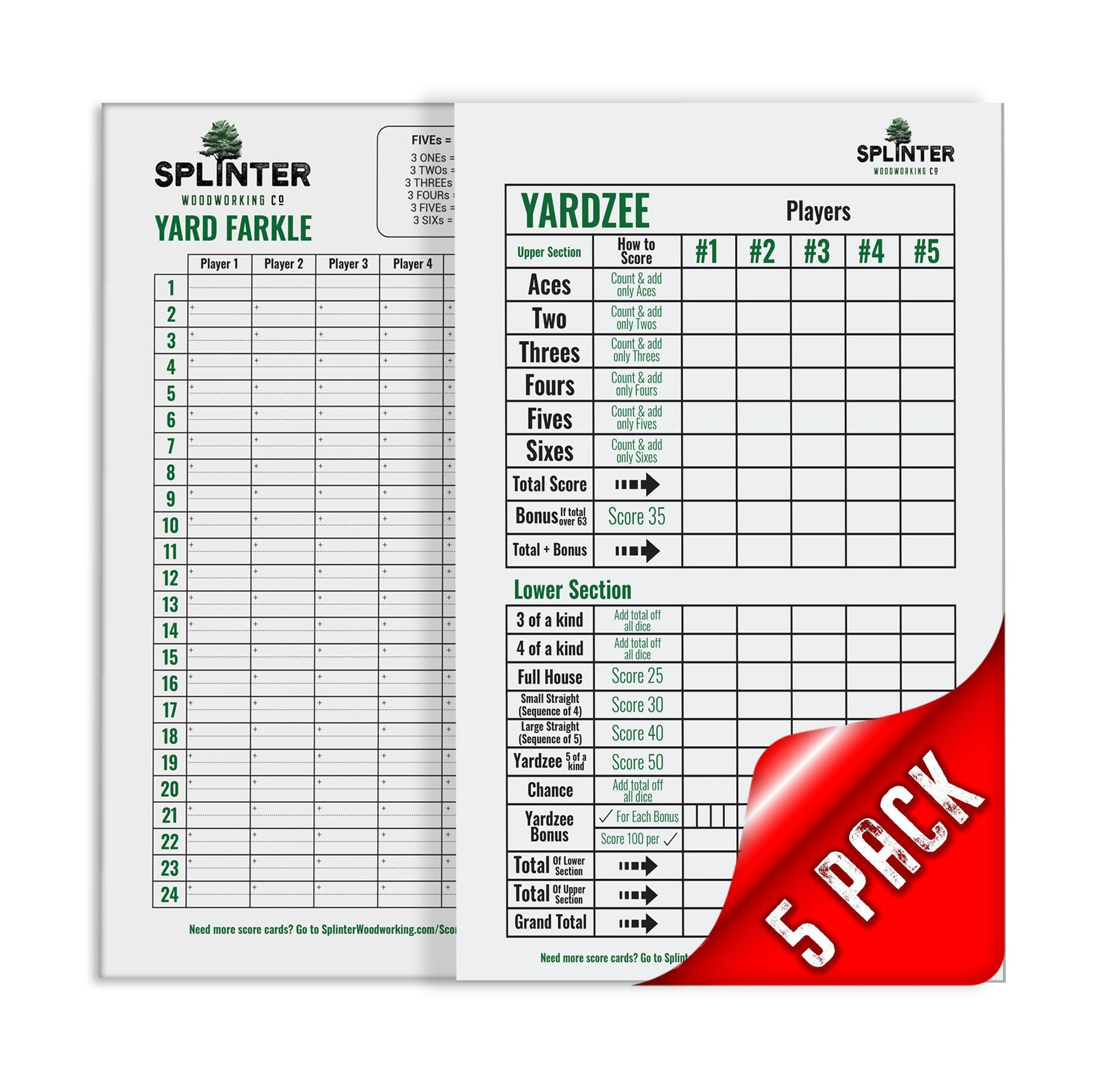 5 Yardzee & 5 Farkle Laminated Score Cards with Instructions