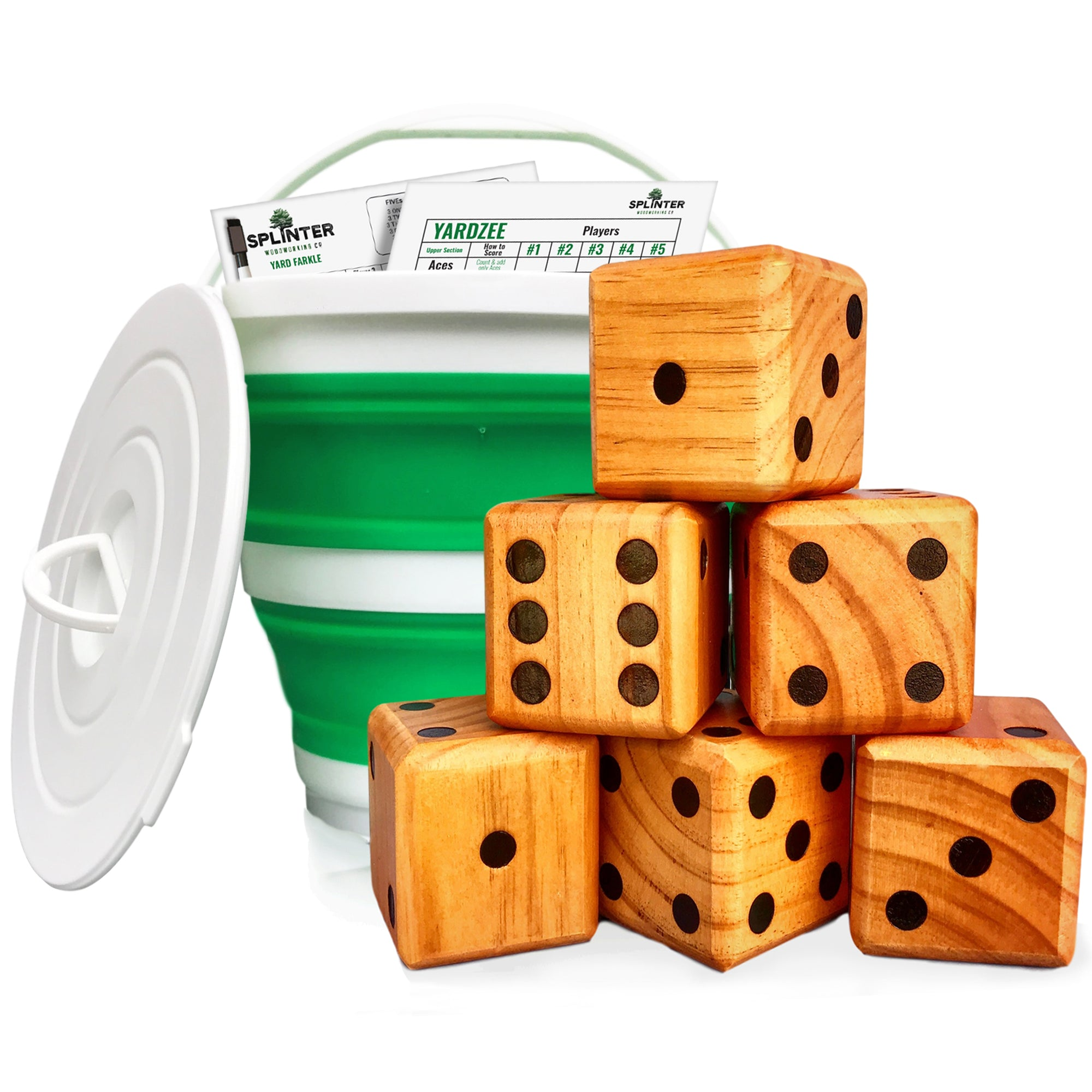 Yardzee & Farkle Giant Dice Game with Collapsible Bucket