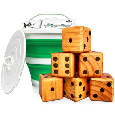Yardzee & Farkle Giant Dice with Collapsible Bucket (20+ Games Included)