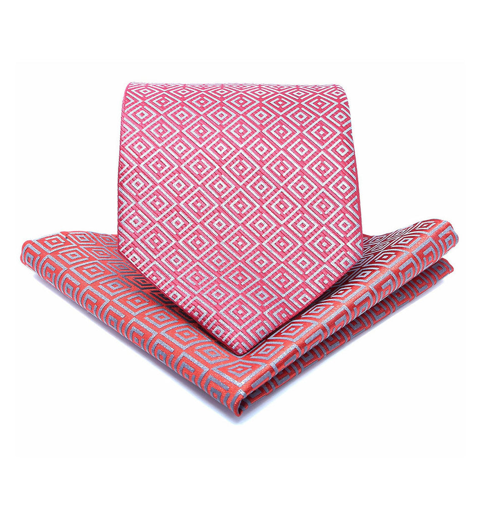 ISHU Tie & Pocket Square in Ruby Red