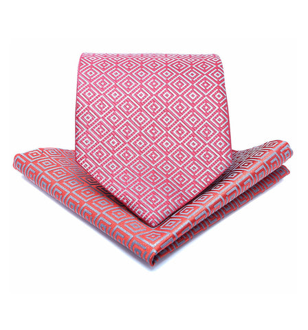 ISHU Tie & Pocket Square in Original Red