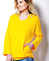 Drop Shoulder Cuff-Less Sweatshirt