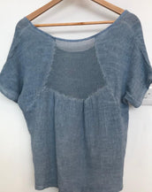 Linen and Cotton Top with Mesh Back Detail
