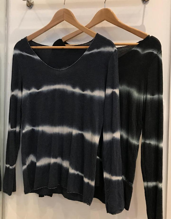 Tie Dye Knit With Silver Lurex Trim