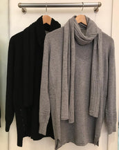 Long Plain Jumper with matching scarf