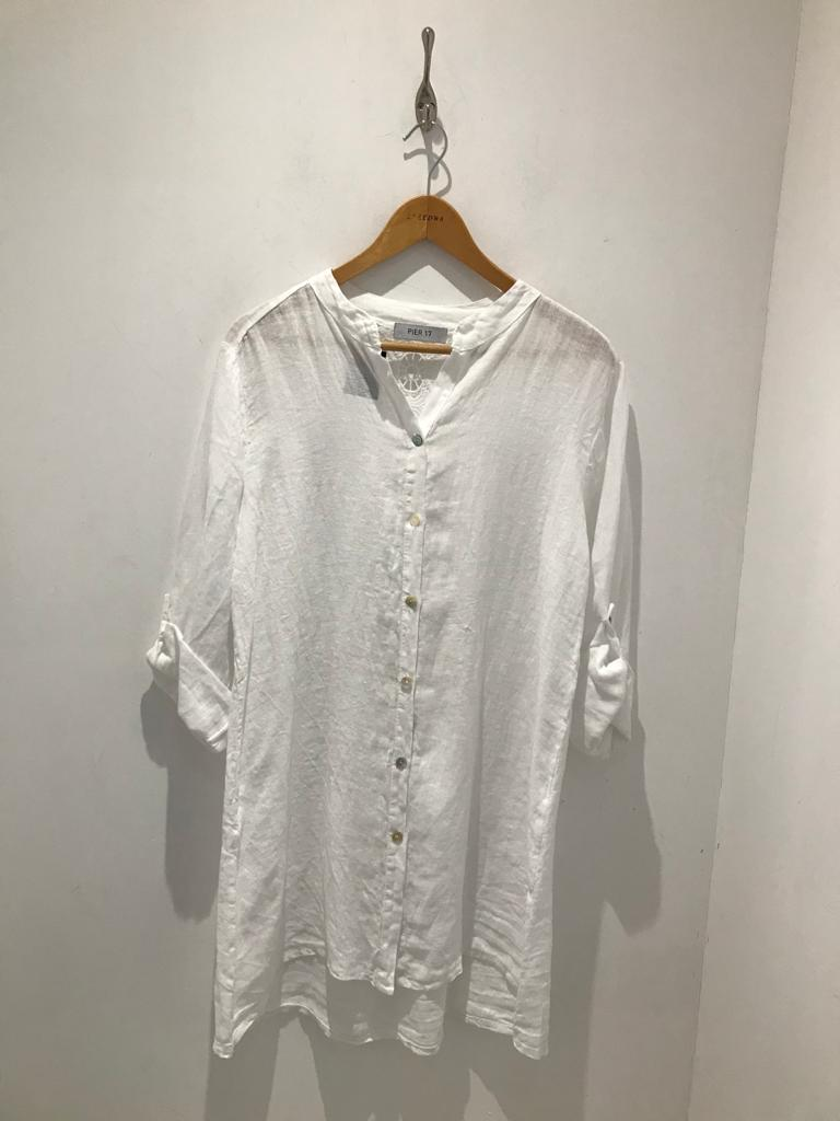 White linen tunic with lace detail