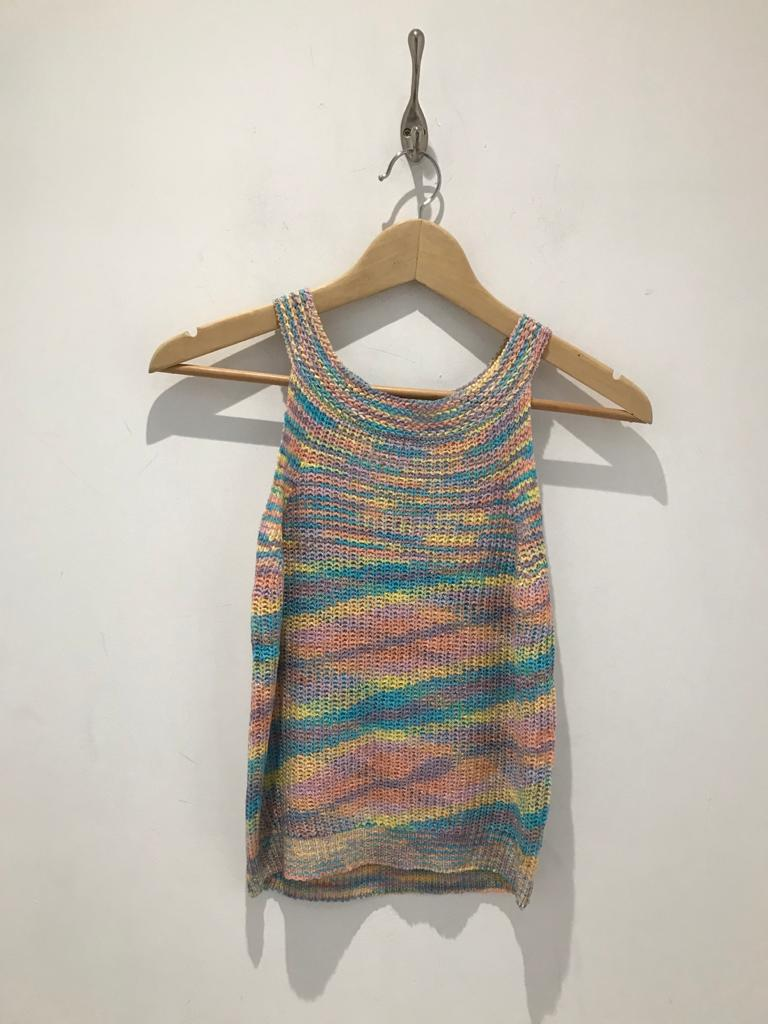 Knitted multicoloured vest top
