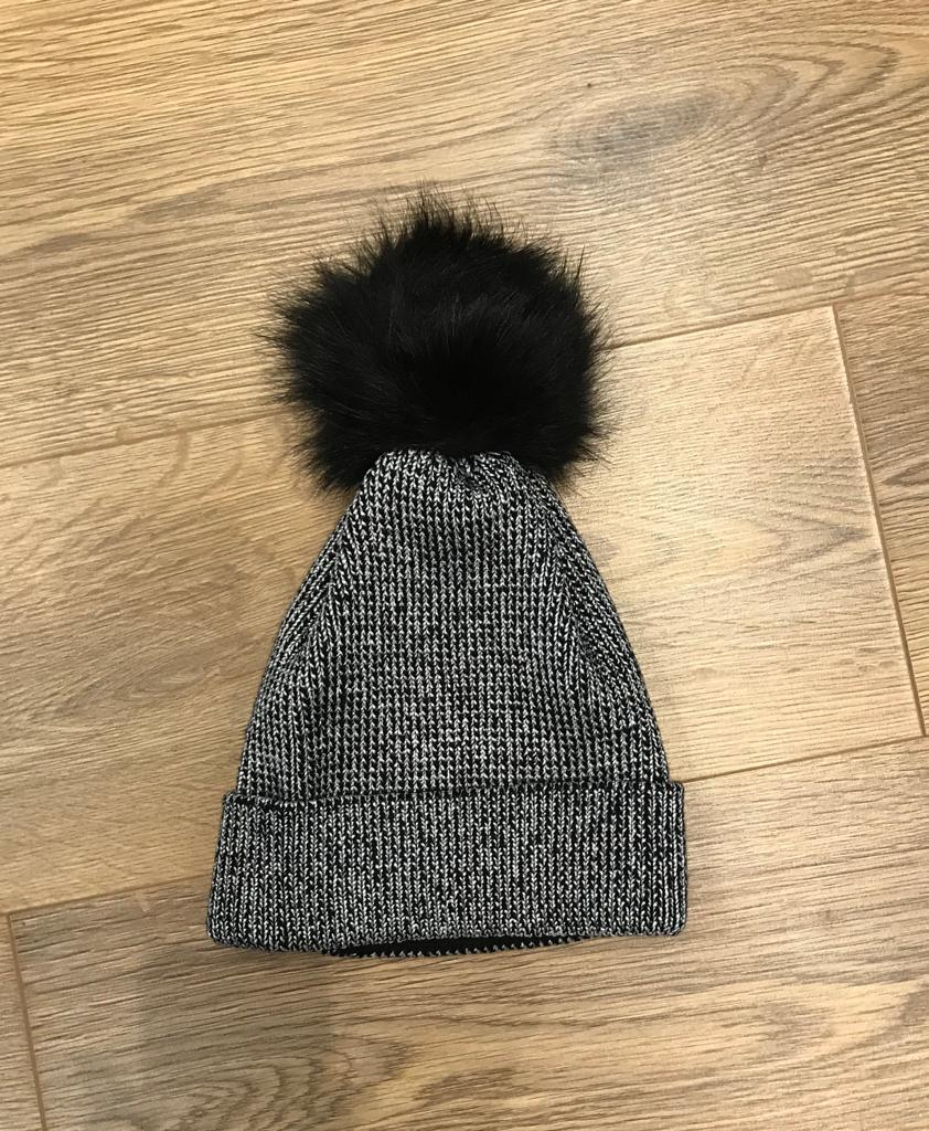 Silver and grey bobble hat