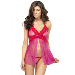 2pc Point Desprit Dotted Sheer Flyaway Babydoll,G-String Med/Lge Pink/Red