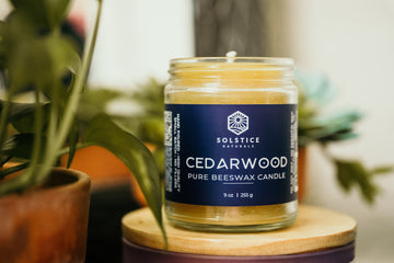Cedarwood - Essential Oil Beeswax Candle Beeswax Candles - Solstice Naturals 100% Pure Beeswax Candles