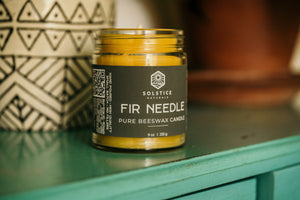 Fir Needle Pure Beeswax Candle (9 oz.) Beeswax Candles - Solstice Naturals 100% Pure Beeswax Candles
