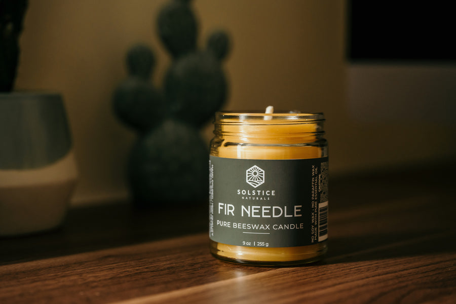 Fir Needle - Essential Oil Beeswax Candle Beeswax Candles - Solstice Naturals 100% Pure Beeswax Candles