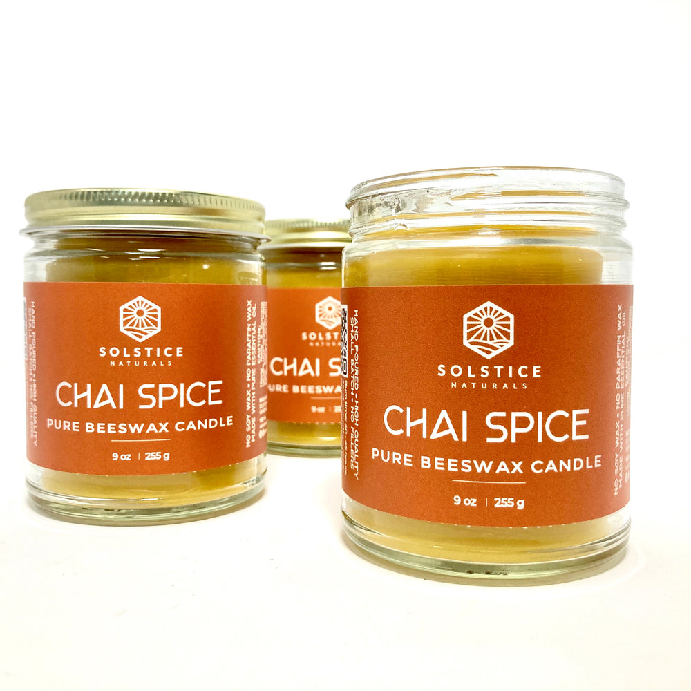 Chai Spice - Essential Oil Beeswax Candle -  9 oz
