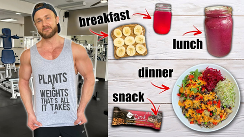 Derek Simnett in a gym showing full day's meals and drinks.