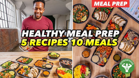 Kevin Curry with containers of meal prep with words - Healthy Meal prep 5 recipes 10 meals.