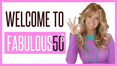 YouTuber Schellea Fowler in purple, with words Welcome to Fabulous50s.