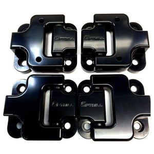 Optimill 90 door hinges in black on a white background