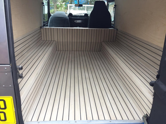 Synthetic Teak deck fitted in a Land Rover