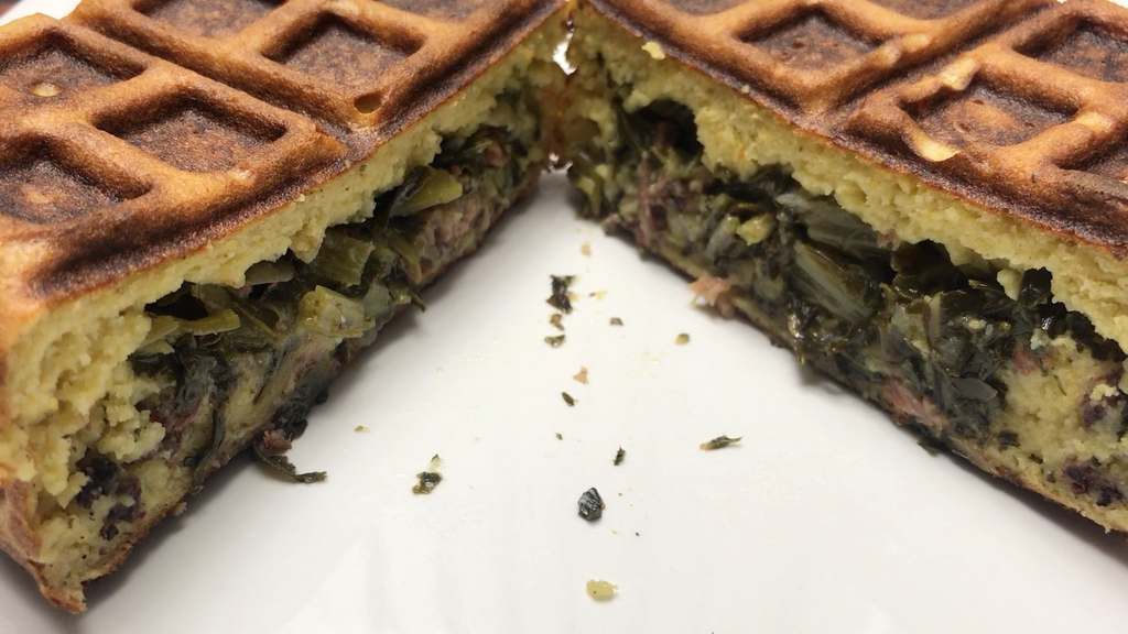 Collard Greens & Smoked Neck Bone Stuffed Waffle