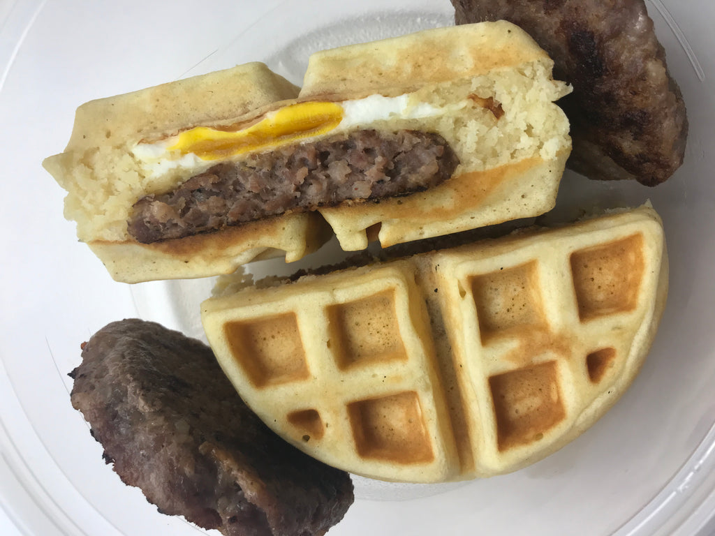 Sausage, Egg, and Cheese Stuffed Waffle