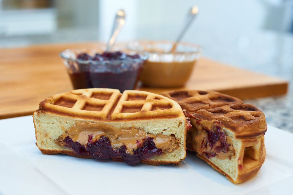 Peanut Butter and Jelly Stuffed Waffle