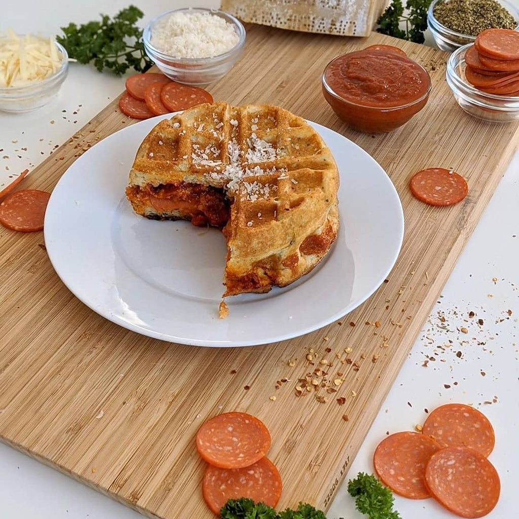 Low-Carb Pepperoni Pizza Stuffed Waffle
