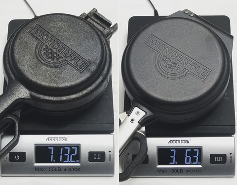 Weight difference between the cast iron and cast aluminum models