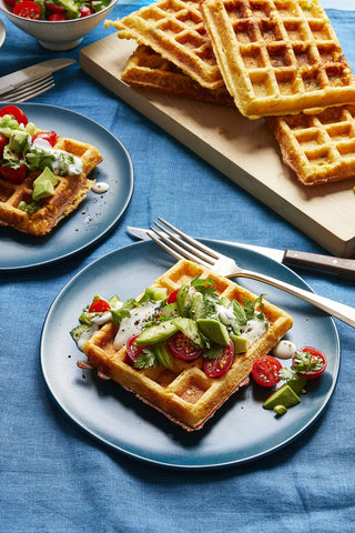 Savory Corn Waffles with Tomato Herb Salad